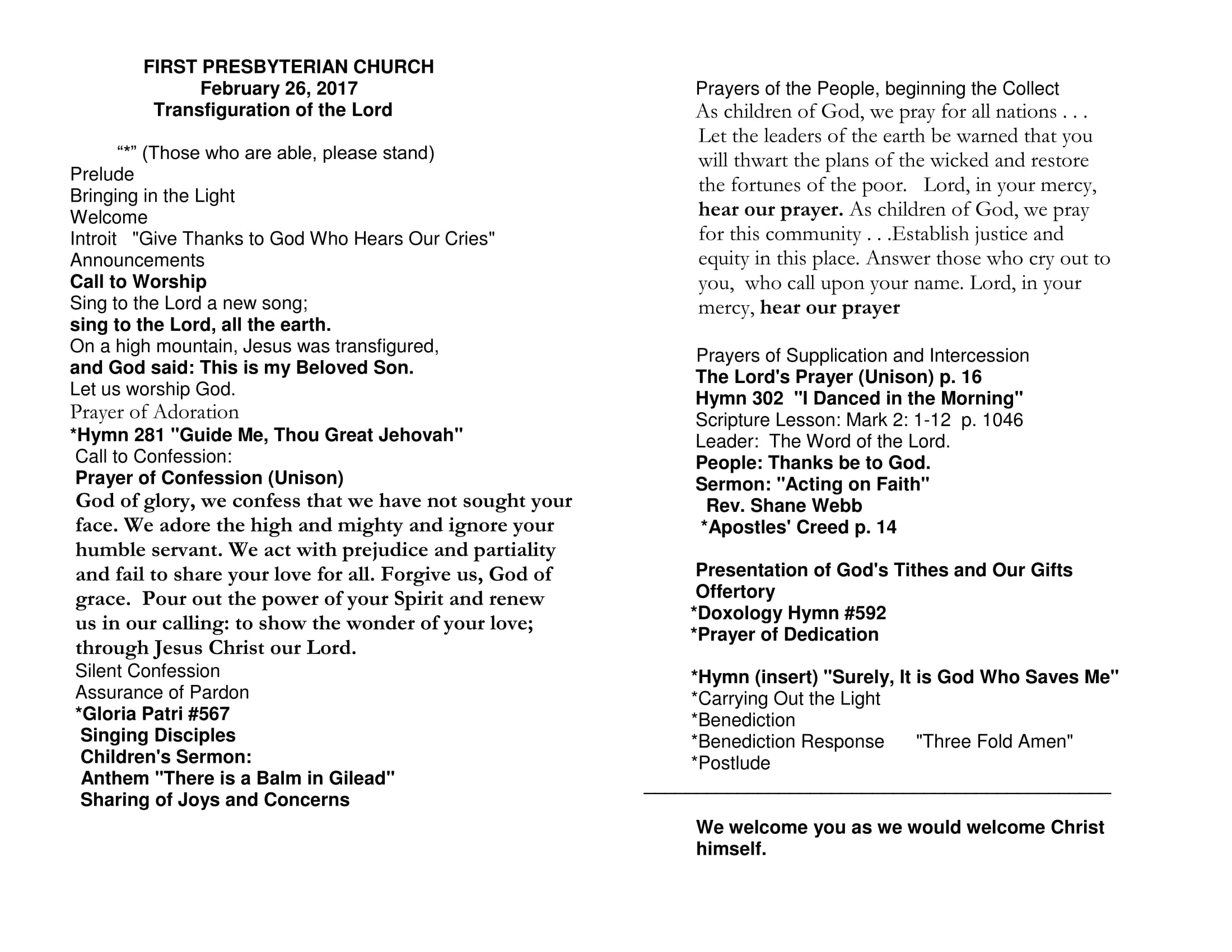worship service program 2 26 17 first presbyterian church mt